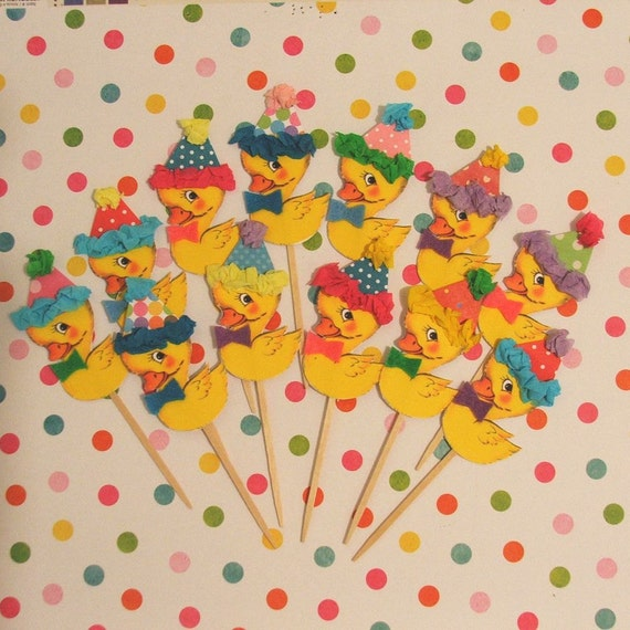 Adorable Yellow Ducks Cupcake Toppers/Baby Shower