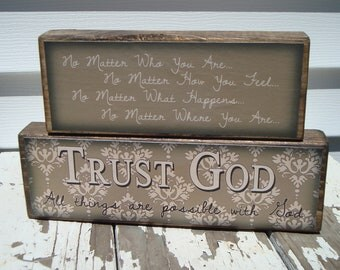 Trust God Stacker--Great decoration and gift