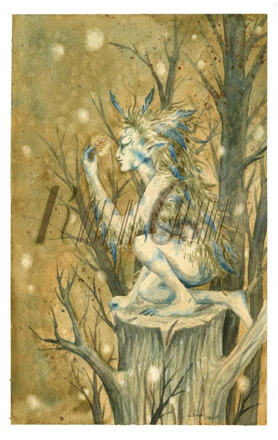 Winter Feathers, Watercolor Print Fantasy Fairy