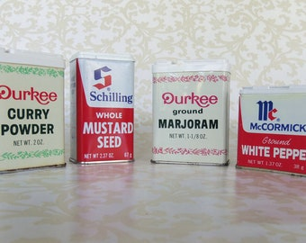 VINTAGE SPICE TINS - Set of Four from the 80's - McCormick, Schilling, Durkee
