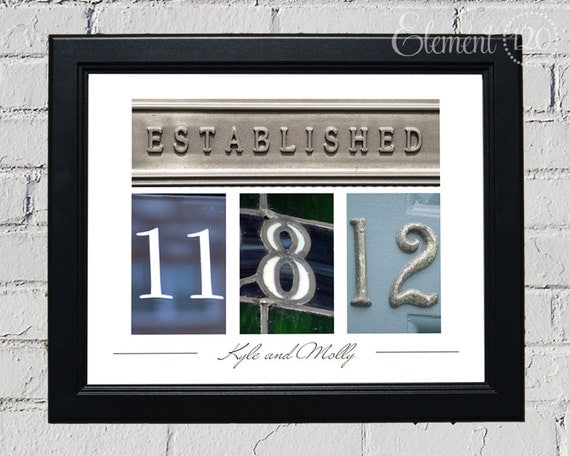 Wedding Gift Date Frame with Personalized Colored Number Photo Art - Anniversary, Wedding or Bridal Shower Gift - 11x14 Black Frame