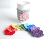 Coffee Cup Cozy, Crochet Coffee Sleeve, Reusable Coffee Cozy with 4 interchangeable flowers by The Cozy Project
