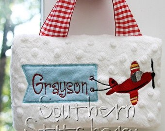 Boys Airplane Tooth Pillow Door Hanger Personalized Great Baby Gift Birthday Ring Bearer