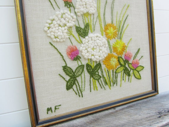 Gorgeous Floral Crewel Needlepoint Framed Wall Hanging 1970s