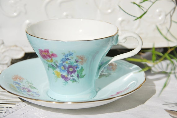 Vintage Bone China Aynsley 1930's Pale Blue Floral Corset Tea Cup and Saucer, England