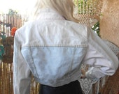 Vintage 80's Color block Cropped Denim Jacket Size   Small