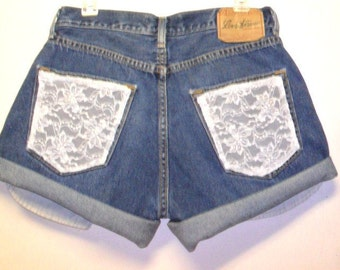 Vintage Levis   denim shorts -----with Lace  Pockets  ---Waist   31  inches