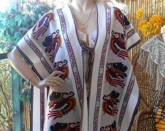 Vintage Guatemalan  Sweater Poncho with Fringe  Shawl Sweater Small-XL