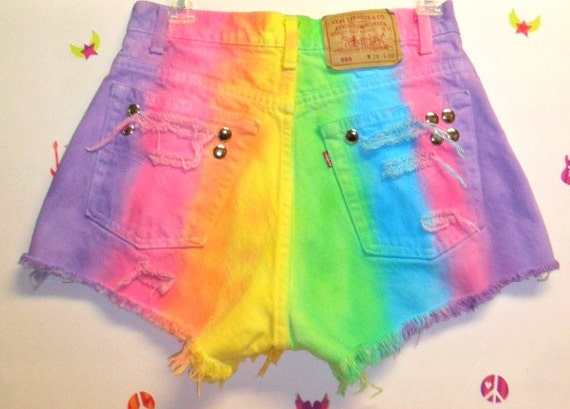 Vintage Levis High Waisted Hand  Dyed  Denim Shorts - Studded ---Waist 28  inches ---Ready to Ship