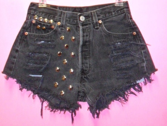 Vintage  Levis 501 Button Fly  Black  Denim Shorts - Studded---Waist  27  inches