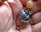 Baby Dragon Grimoire Bookmark, Rainbow Agate with Swarovski Crystals, Pagan, Wicca Spellbook
