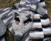 Knitted scarf, Faux Fox Scarf, Male Fox, Made from Melange Thread, Decorated with Beads and Eyebrows - Medium (ready to ship)