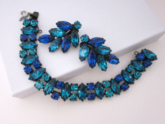 Stunning Vintage REGENCY Rhinestone Bracelet Earrings Set - Brilliant Blue and Teal Colors Outstanding Glitz Fashion Jewelry - jryendesigns