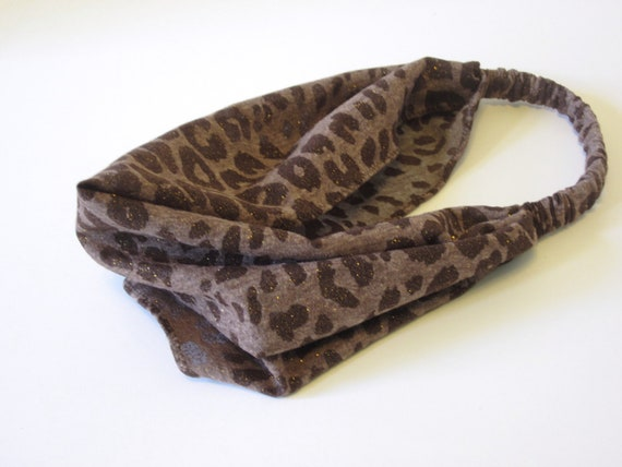 Glitter Brown Cheetah Head Band With Gold Sparkle Cotton Blend Jersey Knit Handmade Fall Fashion Accessory