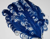 Curly Feather Pad -  Two Tone Navy on White   FP171 - (1 piece)