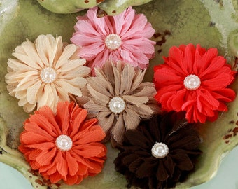 NEW  Fabric Flowers - Cabaletta Autumn -  561758 -  small sheer  layered fabric flowers with pearl  embellishment center accent