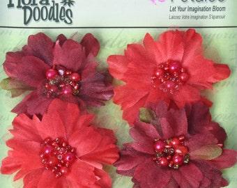 """fabric flowers - Beaded Peonies -  Burgundy & Red  1297-002  -  2"""" Layered fabric flowers with beaded centers - 4 pieces per pack"""