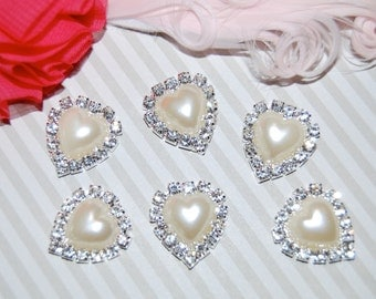 6 pearl rhinestone heart embellishments flower centers buttons accessory flat back 22mm  - Pearl crystal accent metal component - RB19