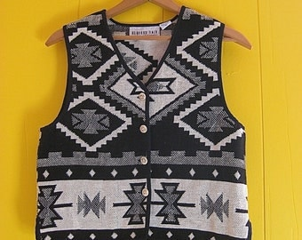 Geometric Designs Vest Vintage Clothing Black and White Bone Buttons Ethnic Style Boho Fashion