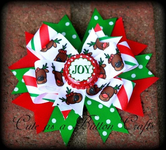 Christmas pinwell hair bow Perfect for The holiday season Reindeer hair bow