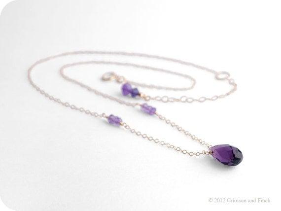 "Gold filled, purple briolette, amethyst necklace ""Violetta"""