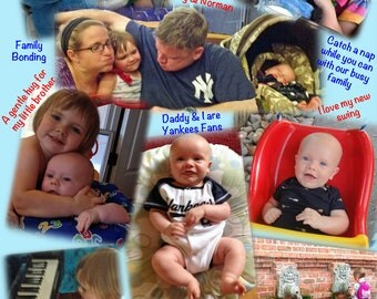 6 PHOTOS on FABRIC PANEL  8.5 in x 11 in.  A Collage of your Pictures, Scanned Images and Text Printed.  Make your own quilt or pillows