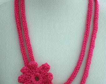 Pink Knit Flower Necklace with Crochet Flower