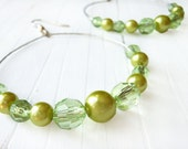 Lime Green Hoops: Beaded Hoops, Lime Green Earrings, Silver, Green Hoop Earrings, Lime Green Bead Earrings, Large Beaded Hoop Earrings