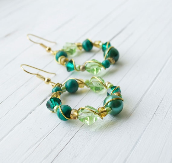 Custom Order for Dipali: Green Hoop Earrings and Necklace, Beaded Hoop Earrings, Gold Earrings, Green and Gold Earrings