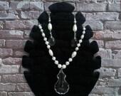 wedding jewelry set, bridal Pearl Jewelry Set.Necklace Earrings  Set. Vintage Style Wedding ,Crystal Pendant