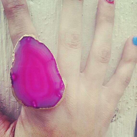 Fuschia Agate Slice Ring // 18k Gold Leaf // Jewelry