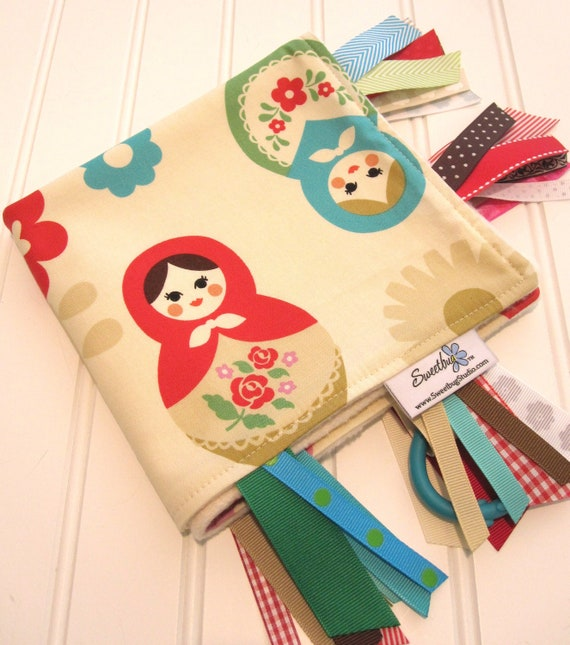 Sensory Ribbon Blanket,Lovey,Tag Blanket/Matryoshka Dolls/Organic Cotton Fleece