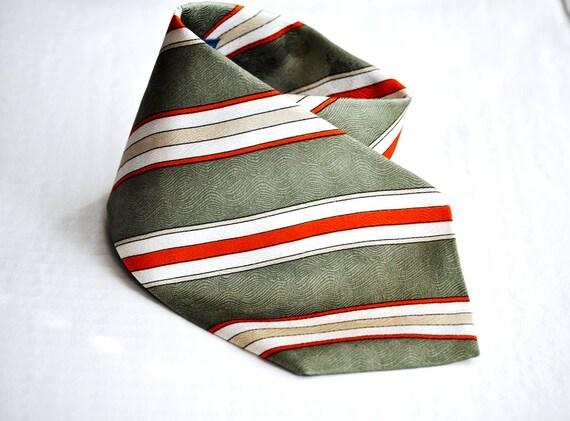 Wide Silk Tie Vintage Mens Necktie Light Green Ecru White Orange 80's Eveteam