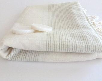 Ultrathin Turkish  Bath Towel, Pareo, Sarong on the boat, Peshtemal, Organic Bamboo and Cotton, White