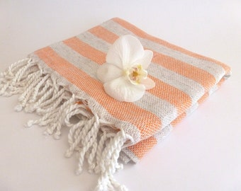 SALE 50% OFF Premium Turkish Towel, Peshtemal, Hammam towel, Natural Soft Cotton, spa, yoga towel, For Mom, Coral, mother's day, mom