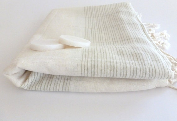 Ultrathin Turkish  Bath Towel, Pareo, Sarong on the boat, Peshtemal, Organic Bamboo and Cotton, White