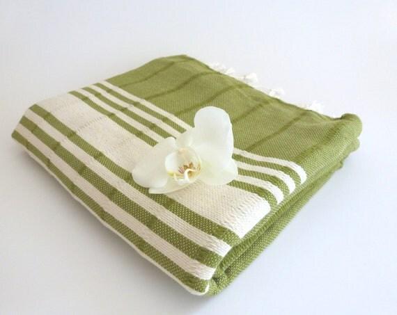 Turkish Towel, Peshtemal, Beach towel, Bath towel, hammam towel, SPA, Yoga Towel, Handwoven Natural Soft Cotton, Green