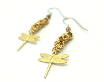 Dragonfly And Chainmaille Earrings Handmade From Brass