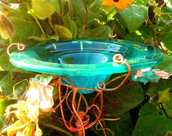 DRAGONFLIES Stained Glass BUTTERFLY and BIRD Feeder Suncatcher, copper, Emerald Green, Garden