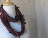 Burgundy & Black Jersey Infinity Loop Scarf with Hand Tied Bows Tee Shirt Scarf Womens Fashion