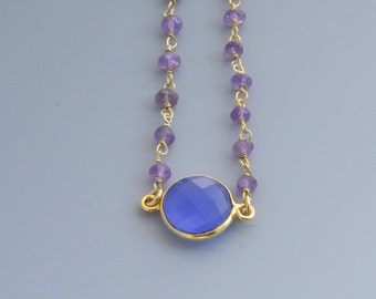 Bezel Set Blue Onyx with Amethyst beads in Gold Filled Necklace - Bridesmaid Gift - Gold Necklace - Something Blue  - Gemstone Necklace