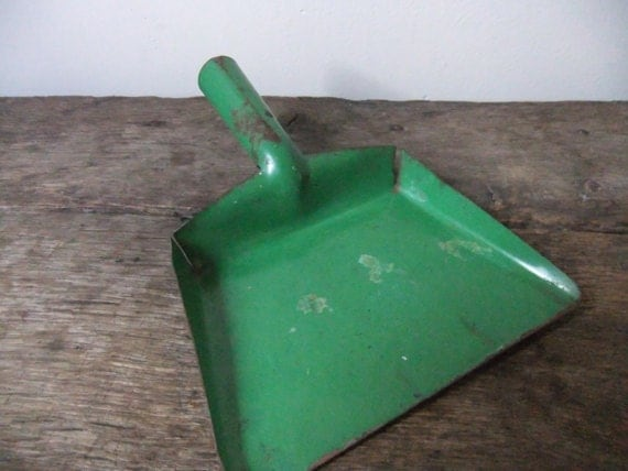 Antique Childs Dustpan Toy Green Metal Dust Pan