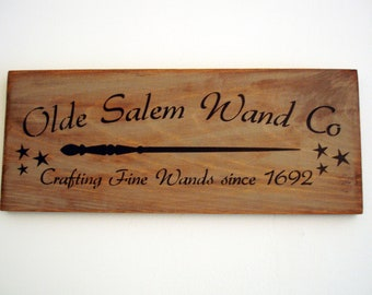 Halloween Decor/ Sign- Olde Salem Wand Co. Primitive Wood Sign/ Witch Decor