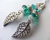 Green teal crystal filigree tibetan silver  leaf - antique look earrings drop dangle eco friendly mothers day gift