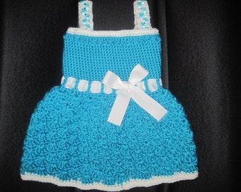 Cute baby crocheted ribbon waist sundress 3-6 months