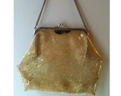 Vintage 1950's Pin Up Clear WIth Gold Confetti  Soft Lucite Hand Bag