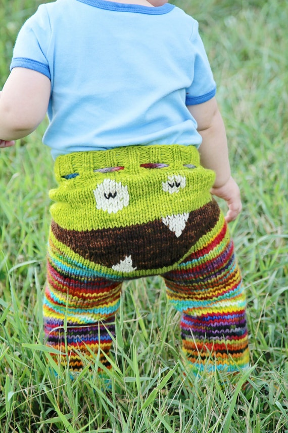 Monster Zombie Pants Longies Eco Friendly Wool Hand Knit