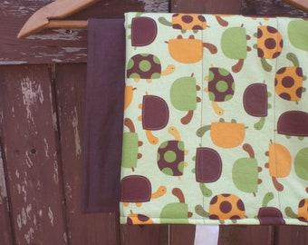 Changing Pad for Baby/Toddler Boy - Brown with Green, Brown and Orange Bermuda Turtle Print