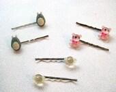 Totoro Bobby Pins, Teddy Bear bobby pins, Candy Bobby Pins, Handmade Bows PLEASE PICK ONE