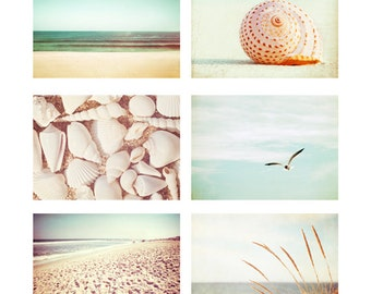 Beach Photo Set - Six Photographs 11x14, 8x10, 5x7 - ocean seashell beach sea shells photography print set mint green cream beige peach teal